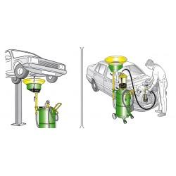 Recuperador aceite usado con bandeja lateral y depósito con carro de 90 l.